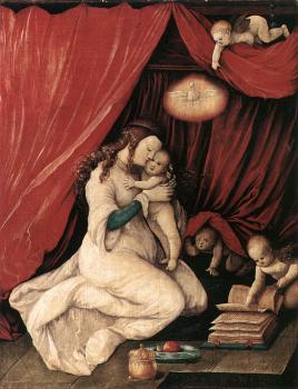 Hans Baldung Grien : Virgin and Child in a Room