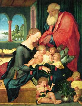 Hans Baldung Grien : Holy family in the room with five angels