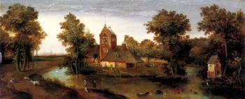 A Moated Tower With Farmhouses