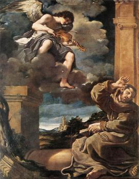 St Francis with an Angel Playing Violin