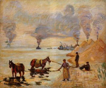 Armand Guillaumin : Horses in the Sand at Ivry