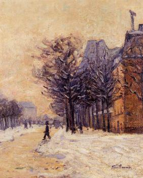 Armand Guillaumin : Passers-by in Paris in Winter
