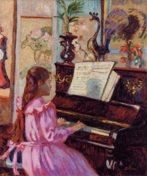 Armand Guillaumin : Young Girl at the Piano