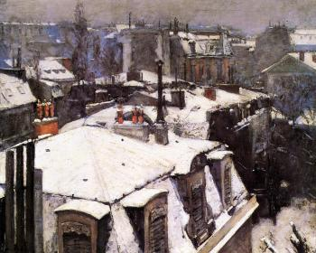 Gustave Caillebotte : Rooftops Under Snow