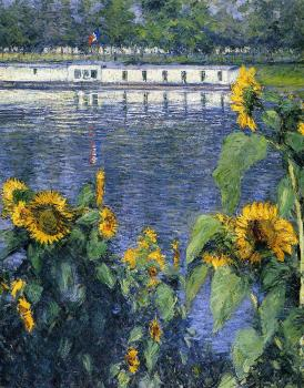Gustave Caillebotte : Sunflowers on the Banks of the Seine