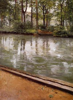 Gustave Caillebotte : The Yerres Rain aka Riverbank in the Rain