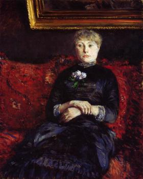 Gustave Caillebotte : Woman Sitting on a Red Flowered Sofa