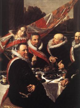 Frans Hals : Banquet of the Officers of the St George Civic Guard detail