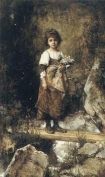 Alexei Alexeievich Harlamoff : A Peasant Girl on a Footbridge