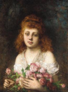 Alexei Alexeievich Harlamoff : Auburn haired Beauty with Bouquet of Roses
