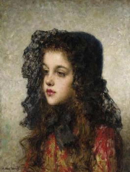 Alexei Alexeievich Harlamoff : Little Girl with Veil