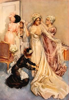 Harrison Fisher : Bride getting groomed for the wedding