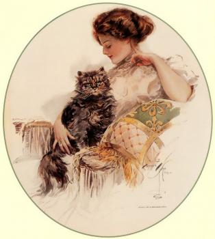 Harrison Fisher : Woman with Cat