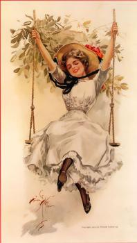 Harrison Fisher : Girl on Swing