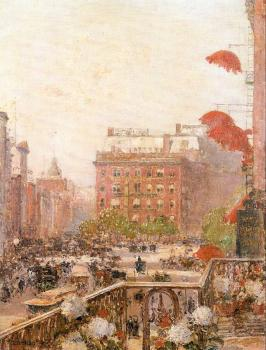 Childe Hassam : View of Broadway and Fifth Avenue