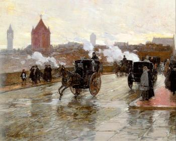Childe Hassam : Clearing Sunset (Corner of Berkeley St and Columbus Ave)