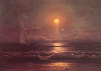 Martin Johnson Heade : Sailing by Moonlight