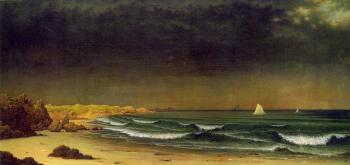 Martin Johnson Heade : Approaching Storm Beach Near Newport