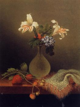 Martin Johnson Heade : A Vase of Corn Lilies and Heliotrope