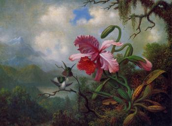 Martin Johnson Heade : Orchid and Hummingbirds near a Mountain Lake