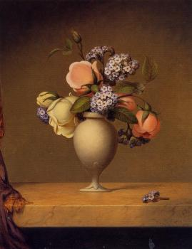 Martin Johnson Heade : Roses and Heliotrope in a Vase on a Marble Tabletop