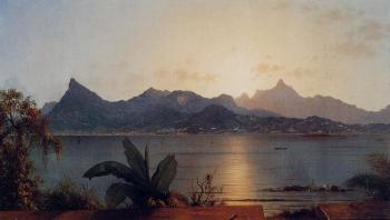 Martin Johnson Heade : Sunset, Harbor at Rio