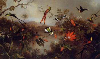 Martin Johnson Heade : Tropical Landscape with Ten Hummingbirds