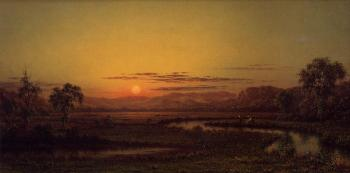 Martin Johnson Heade : Two Fishermen in the Marsh, at Sunset