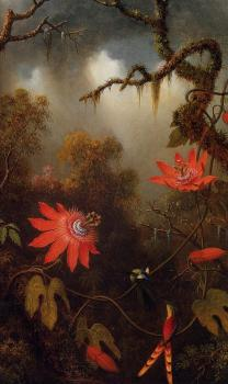 Martin Johnson Heade : Two Hummingbirds Perched on Passion Flower Vines