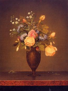 Martin Johnson Heade : Wildflowers in a Brown Vase