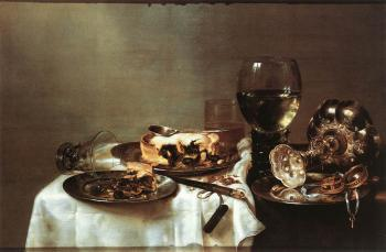 Willem Claesz Heda : Breakfast Table with Blackberry Pie