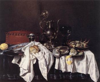 Willem Claesz Heda : Still-Life with Pie, Silver Ewer and Crab