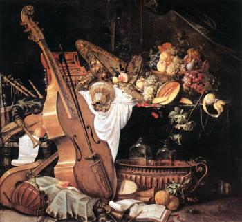 Vanitas Still-Life with Musical Instruments