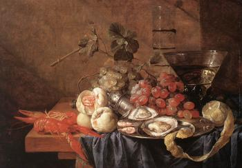Jan Davidsz De Heem : Fruits and Pieces of Sea