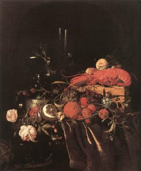 Jan Davidsz De Heem : Still-Life with Fruit, Flowers, Glasses and Lobster