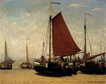 Hendrik Willem Mesdag : The Bomschuit Prinses Sophie On The Beach Scheveningen