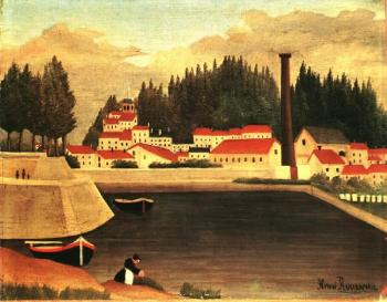 Henri Rousseau : Village near a Factory