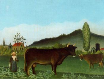 Henri Rousseau : Landscape with Cattle