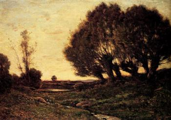 Henri-Joseph Harpignies : A Wooded Landscape With A Stream