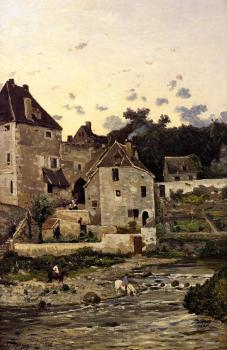 Henri-Joseph Harpignies : The Village of Herisson on the Banks of the Aumance