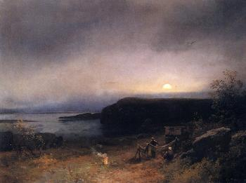 Herman Herzog : Campfire in Moonlight