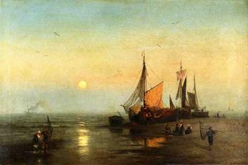 Herman Herzog : Moonlit Fishing Scene