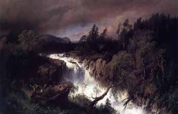 Herman Herzog : Mountain Landscape and Waterfall
