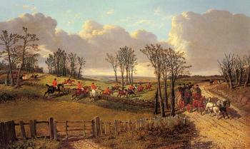 John Frederick Jr Herring : A Hunting Scene with a Coach and Four on the Open Road