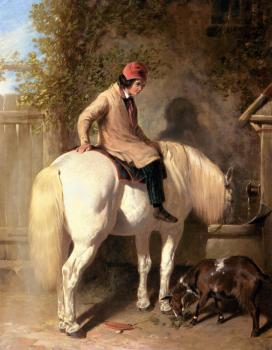 John Frederick Jr Herring : Refreshment, A Boy Watering His Grey Pony
