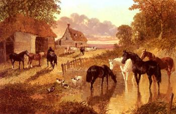 John Frederick Jr Herring : The Evening Hour,Horses And Cattle By A Stream At Sunset