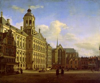 Jan Van Der Heyden : The Dam with the New Town Hall in Amsterdam