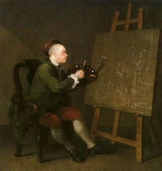 William Hogarth : Self Portrait at the Easel