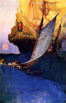 Howard Pyle : Attack on a Galleon