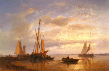 Abraham Hulk : Dutch Fishing Vessels In A Calm At Sunset